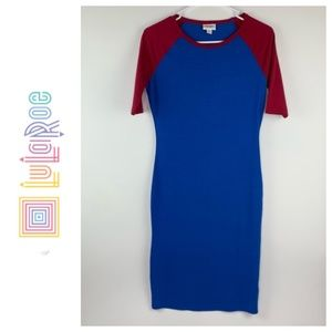 LuLaRoe Julia Dress Size XS Blue Red Raglan